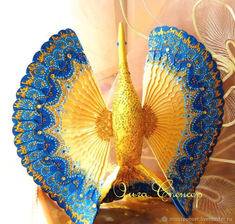 Синяя Птица счастья деревянный оберег для дома, Народные сувениры, Москва,  Фото №1