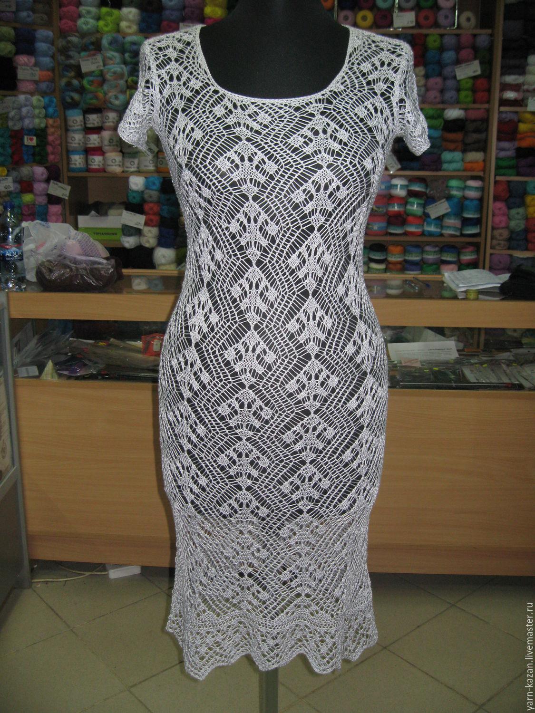 Ажурное вязаное платье купить