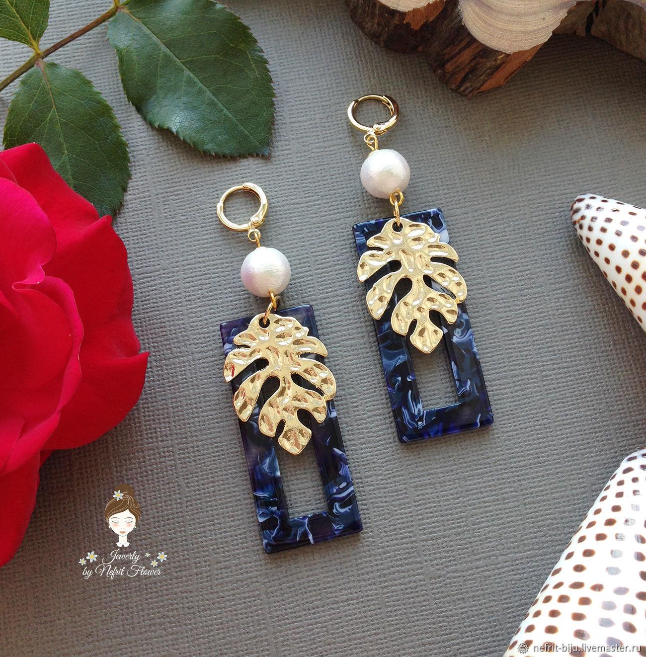 Stylish earrings 'blue Quad of Livs' geometry blue, Earrings, St. Petersburg,  Фото №1