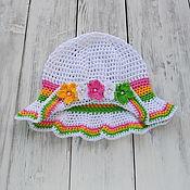 Работы для детей, ручной работы. Ярмарка Мастеров - ручная работа Панамка для девочки вязаная, белая. Handmade.