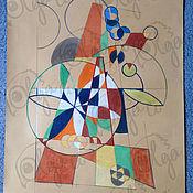 Картины и панно ручной работы. Ярмарка Мастеров - ручная работа Абстрактный натюрморт с элементами сакральной геометрии в пастели. Handmade.