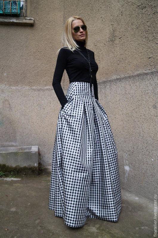 Юбки ручной работы. Ярмарка Мастеров - ручная работа. Купить Длинная черно-белая юбка/Юбка из тафты/F1578. Handmade. Чёрно-белый
