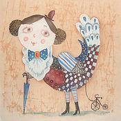 Картины и панно ручной работы. Ярмарка Мастеров - ручная работа Птица счастья в стиле РЕТРО. Handmade.