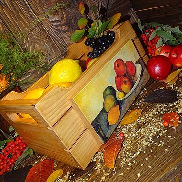 """Для дома и интерьера ручной работы. Ярмарка Мастеров - ручная работа Ящик для фруктов """"Натюрморт с яблоками"""". Handmade."""