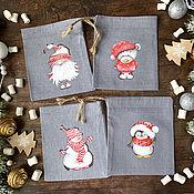 Сувениры и подарки handmade. Livemaster - original item Gift bag Dwarfs, snowmen, bears, penguins. Handmade.