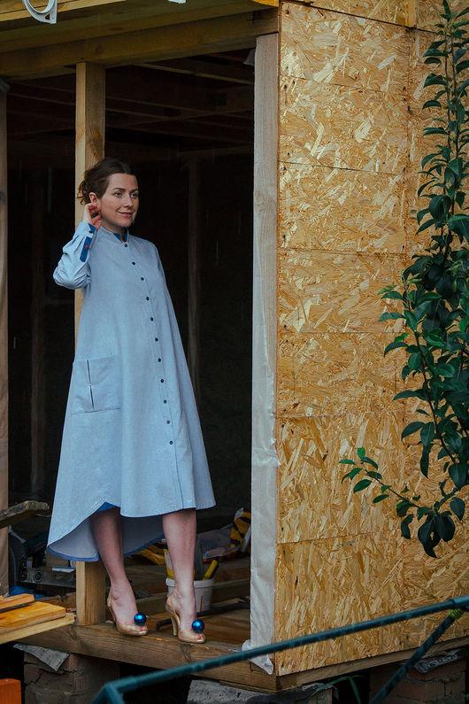 Платья ручной работы. Ярмарка Мастеров - ручная работа. Купить Антиджинс - платье оригинального кроя. Handmade. Голубой, платье свободное