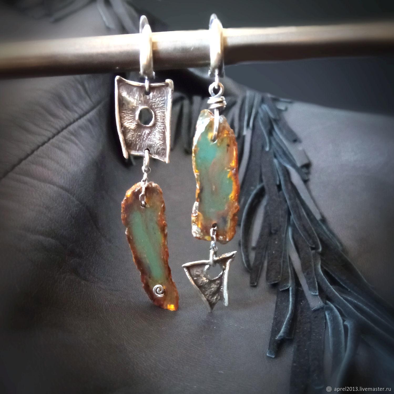 Blue Dominican amber. Dominicana Silver Earrings, Earrings, Sosnogorsk,  Фото №1