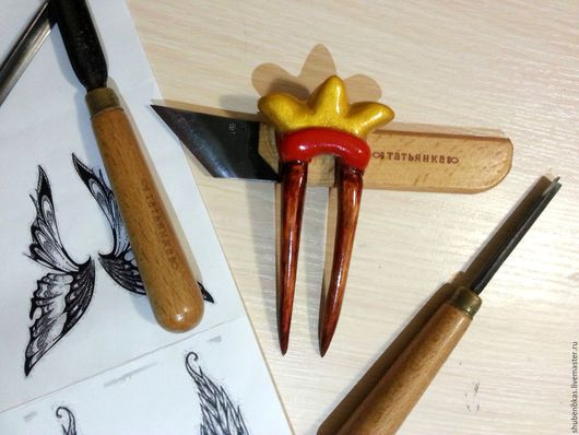 """Заколки ручной работы. Ярмарка Мастеров - ручная работа. Купить заколка на спицах """"Корона"""". Handmade. Комбинированный, заколка, резьба по дереву"""