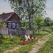 """Картина маслом  """"В деревне"""""""