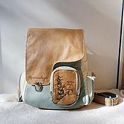 Сумки и аксессуары handmade. Livemaster - original item Custom engraved leather backpack for Elena.. Handmade.