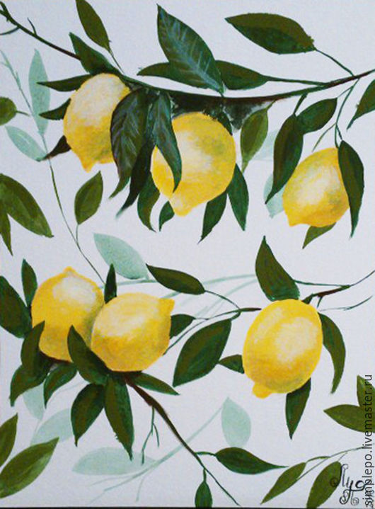 Натюрморт ручной работы. Ярмарка Мастеров - ручная работа. Купить Лимоны. Handmade. Комбинированный, картина для дома, картина с фруктами, лимон