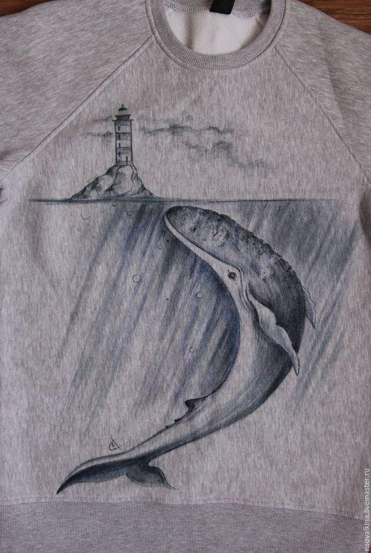 """Кофты и свитера ручной работы. Ярмарка Мастеров - ручная работа. Купить Свитшот """"Кит"""". Handmade. Тёмно-синий, кофта, кит"""
