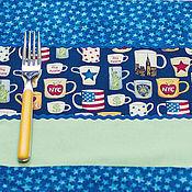 Для дома и интерьера ручной работы. Ярмарка Мастеров - ручная работа Уютные Салфетки для сервировки из синего и зеленого хлопка Нью-Йорк. Handmade.