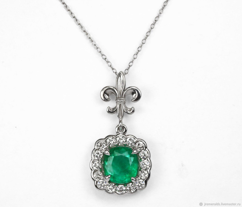 Emerald Cushion & Diamond Halo Pendant, Emerald Pendant, Diamond, Pendants, West Palm Beach,  Фото №1