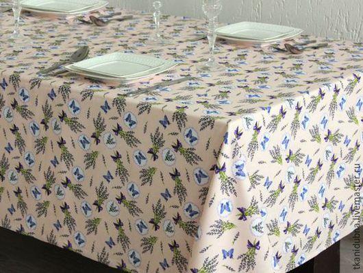 """Шитье ручной работы. Ярмарка Мастеров - ручная работа. Купить Ткань для столового белья """"Лаванда и бабочки"""". Handmade. Бежевый"""