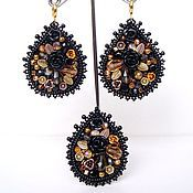 Украшения handmade. Livemaster - original item Earrings ring rim black and gold embroidery handmade. Handmade.