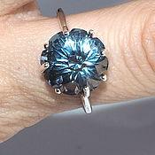 """Украшения ручной работы. Ярмарка Мастеров - ручная работа Кольцо """"Синий  цветок"""" кварц, серебрение 17.5 размер. Handmade."""