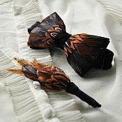 Аксессуары handmade. Livemaster - original item kit: Bow tie and boutonniere with rooster and pheasant feathers. Handmade.