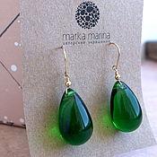 Украшения handmade. Livemaster - original item Earrings from Czech glass emerald Needles. Handmade.