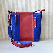 Сумки и аксессуары ручной работы. Ярмарка Мастеров - ручная работа Кожаная сумка на плечо. Джинсовый стиль, синий, красный. Handmade.