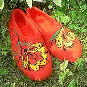 """Обувь ручной работы. Ярмарка Мастеров - ручная работа Валяные тапочки """"Мотивы Хохломы 2"""". Handmade."""