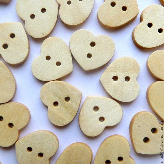 Пуговицы деревянные сердечки