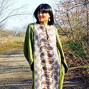 Зимнее платье прямого кроя из натуральной шерсти (125)