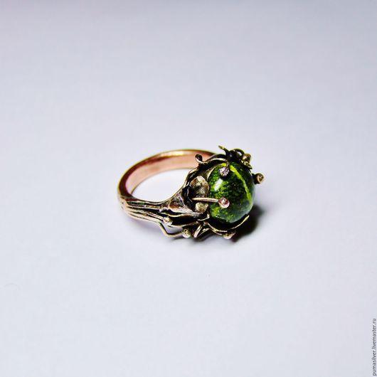 """Кольца ручной работы. Ярмарка Мастеров - ручная работа. Купить Кольцо """"Земля. Весна"""". Handmade. Коричневый, кольцо, кольцо с камнем"""
