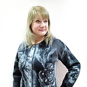 Одежда handmade. Livemaster - original item Jacket in felted Grey roses on black. Handmade.