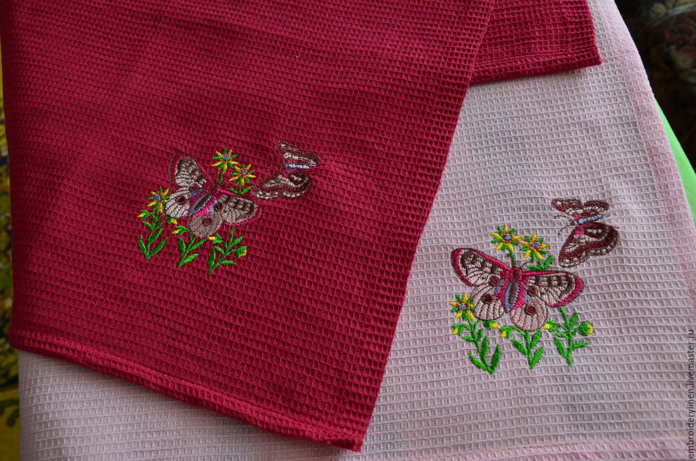 Полотенца вафельные с вышивкой, Полотенца, Раменское,  Фото №1