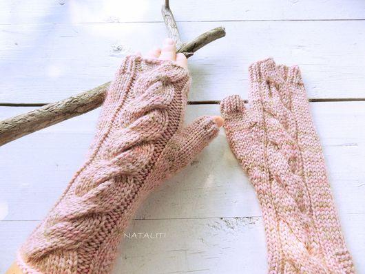 Варежки, митенки, перчатки ручной работы. Ярмарка Мастеров - ручная работа. Купить Митенки Rose из мериносовой шерсти с кид-мохером. Handmade.