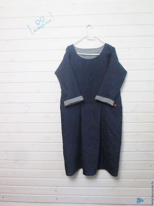 Платья ручной работы. Ярмарка Мастеров - ручная работа. Купить тёмное сине-серое. Handmade. Серый, свободное платье, лён