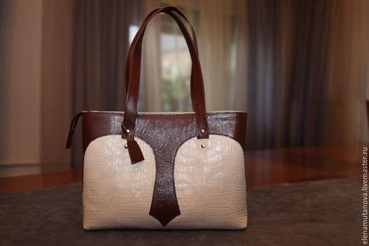 Женские сумки ручной работы. Ярмарка Мастеров - ручная работа. Купить сумка кожаная бежево-коричневая. Handmade. Бежевый