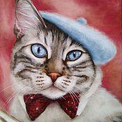Картины и панно handmade. Livemaster - original item Oil painting with cat Parisian chic. Handmade.