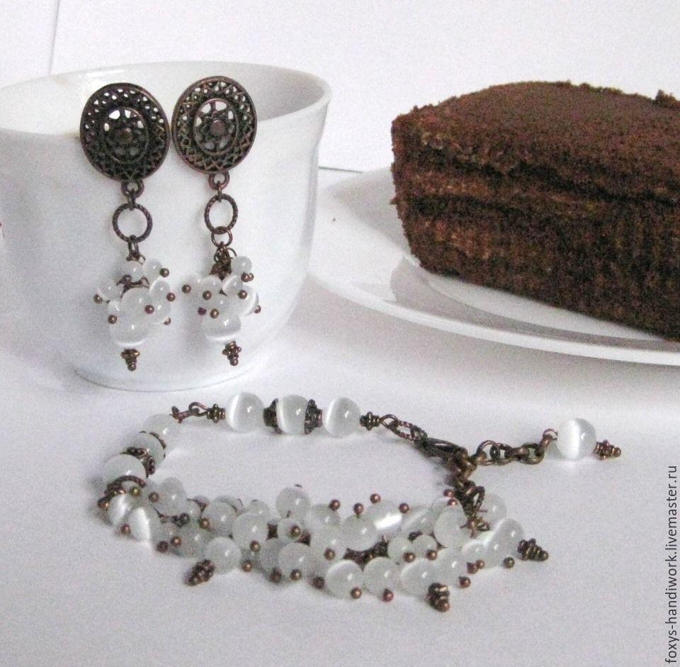 Cream truffle set, white cat's eye / copper, Jewelry Sets, Tula,  Фото №1