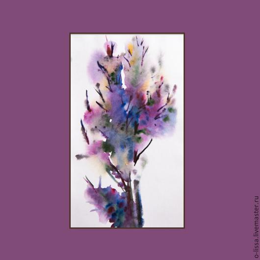 Пейзаж ручной работы. Ярмарка Мастеров - ручная работа. Купить дерево в цвету. Handmade. Брусничный, акварель, цветы, в подарок