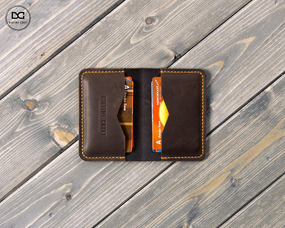 Коричневая визитница кошелек из натуральной кожи, Визитницы, Долгопрудный,  Фото №1