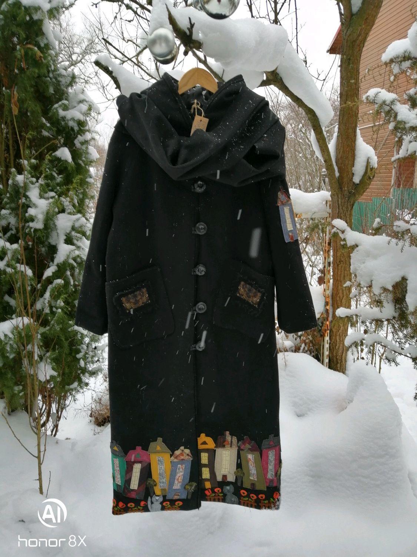 """Пальто из чёрной шерсти с кашемиром """"Котофеи и города"""", Пальто, Ступино, Фото №1"""