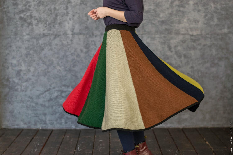 Вязанная юбка спицами с клиньями