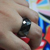 Украшения ручной работы. Ярмарка Мастеров - ручная работа кольцо из черного агата граненное. Handmade.