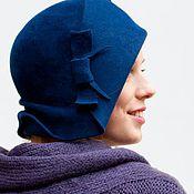 """Аксессуары ручной работы. Ярмарка Мастеров - ручная работа Шляпа клош """"синий велюр"""". Handmade."""