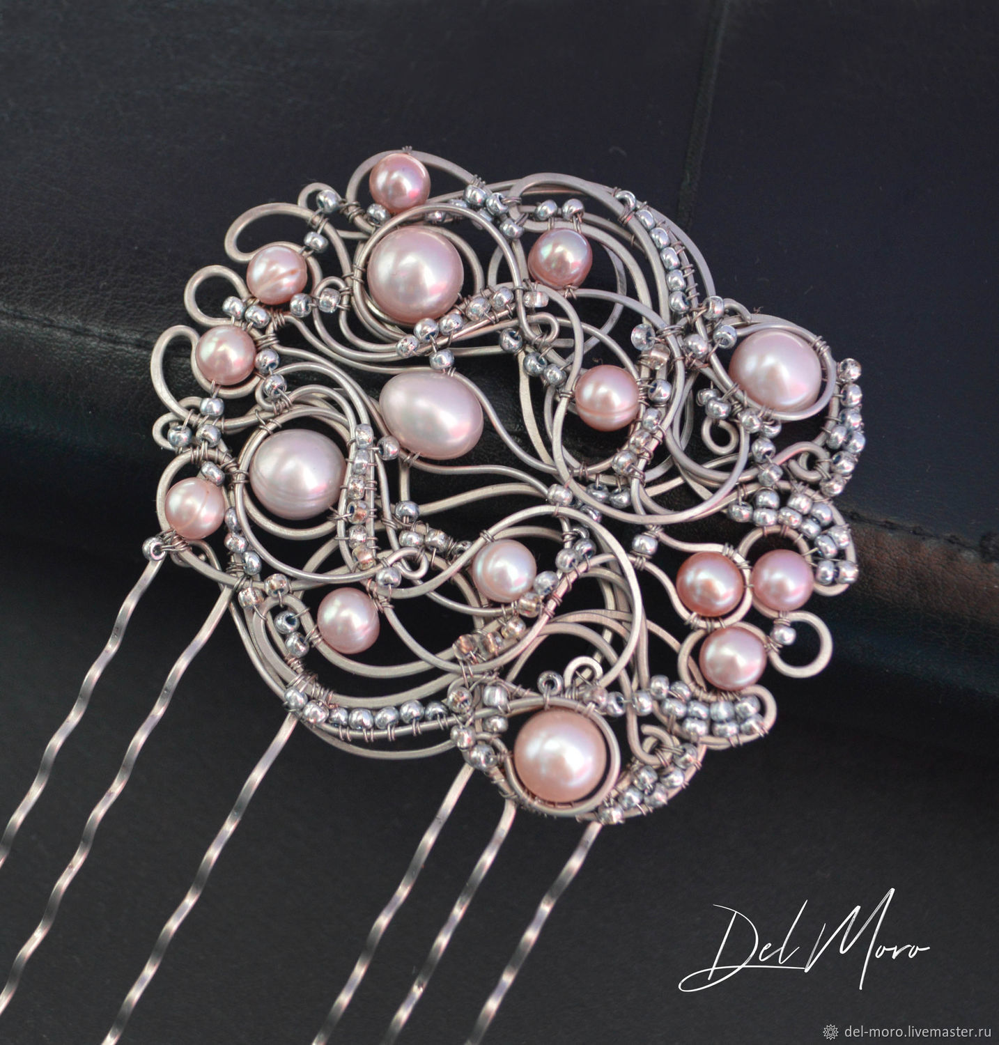 Hair comb with pearls and beads 'By your notes', Comb, St. Petersburg,  Фото №1