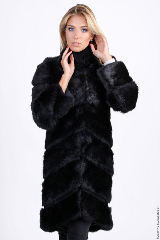 Верхняя одежда ручной работы. Ярмарка Мастеров - ручная работа. Купить Шуба из кролика черная. Handmade. Черный