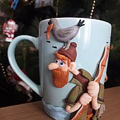 Сувениры и подарки handmade. Livemaster - original item Gifts for hunters and fishermen: a mug to a fisherman. Handmade.