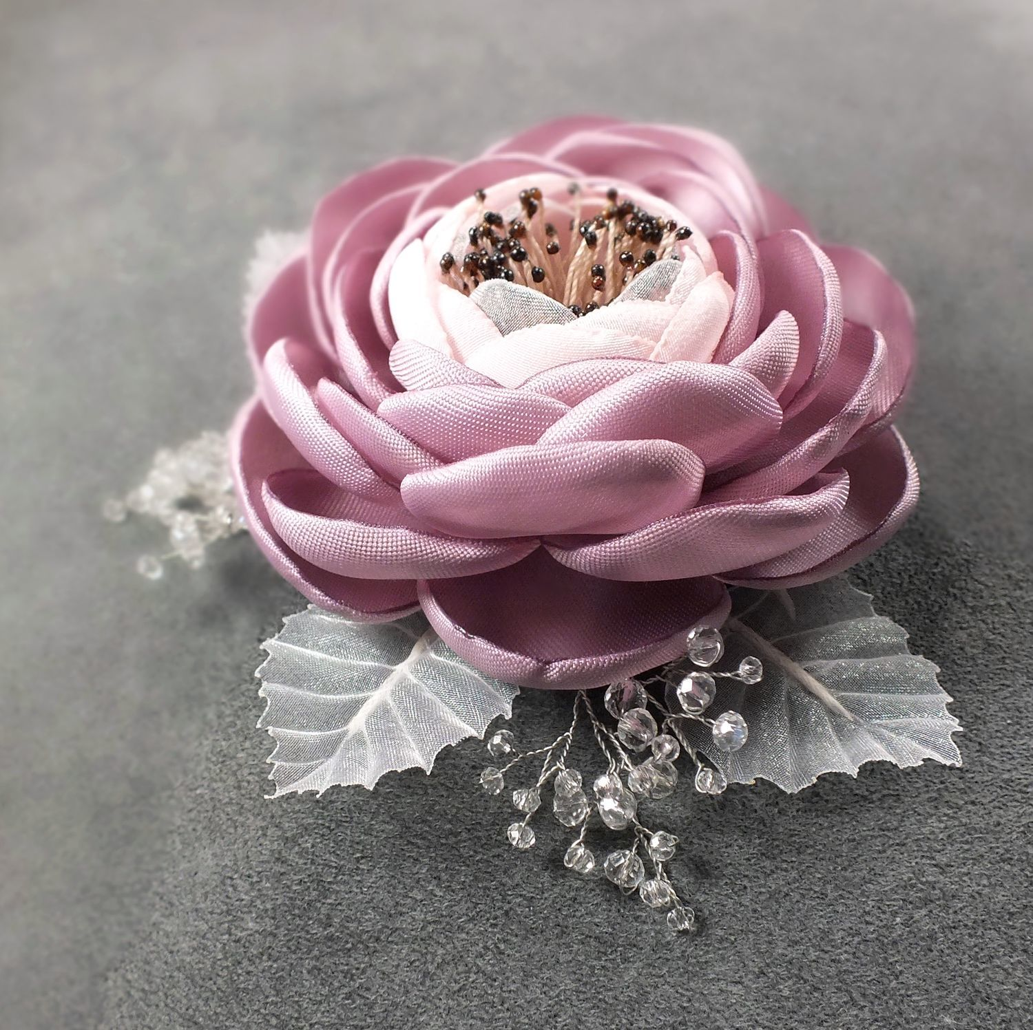 Morning Ice Roses. Brooch - handmade flower, Brooches, St. Petersburg,  Фото №1