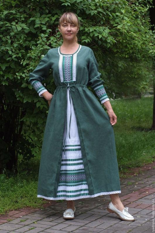Платья ручной работы. Ярмарка Мастеров - ручная работа. Купить платье Купава. Handmade. Тёмно-зелёный, льняное платье