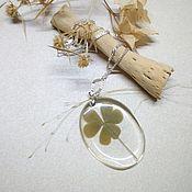 Украшения handmade. Livemaster - original item Pendant with Real Leaf Clover good Luck of the woods rustic 4. Handmade.
