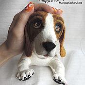 Куклы и игрушки ручной работы. Ярмарка Мастеров - ручная работа Бруно, собака войлочная, бассет хаунд, авторская игрушка. Handmade.
