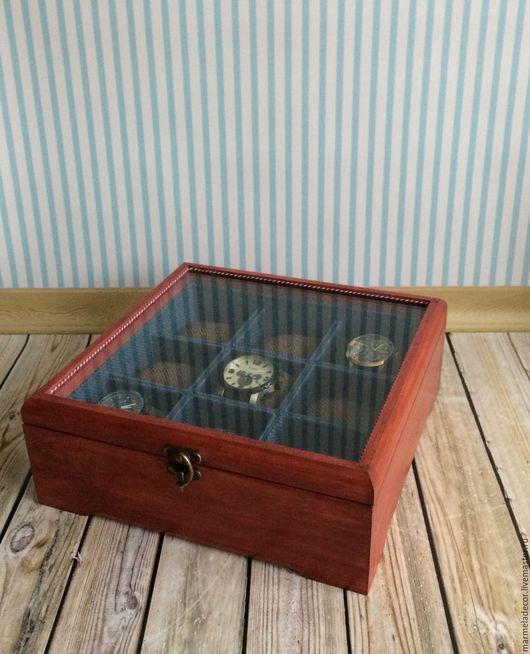 Шкатулки ручной работы. Ярмарка Мастеров - ручная работа. Купить Шкатулка для хранения мужских часов со стеклянной крышкой на 9 ячеек. Handmade.