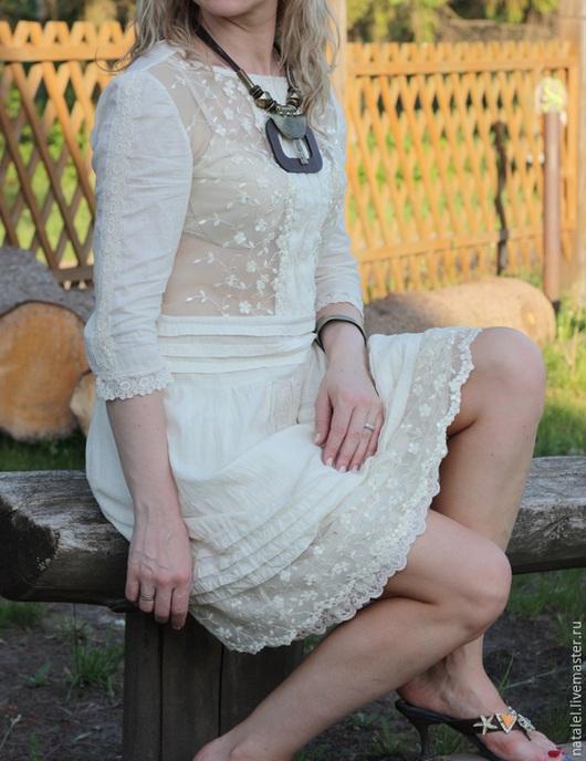 """Платья ручной работы. Ярмарка Мастеров - ручная работа. Купить Платье """"Кружевной бриз -2""""  крем-брюле, бохо стиль, винтаж, прованс. Handmade."""